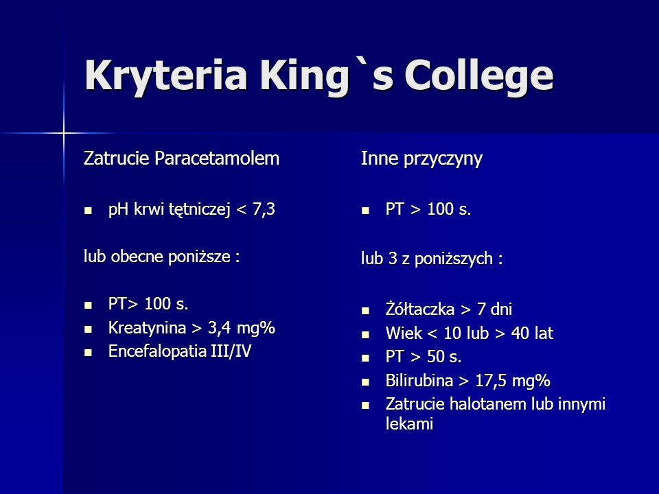 Kryteria King`s College