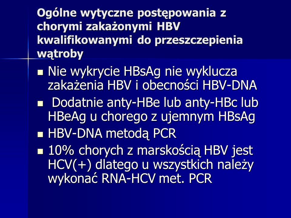 Nie wykrycie HBsAg nie wyklucza zakażenia HBV i obecności HBV-DNA