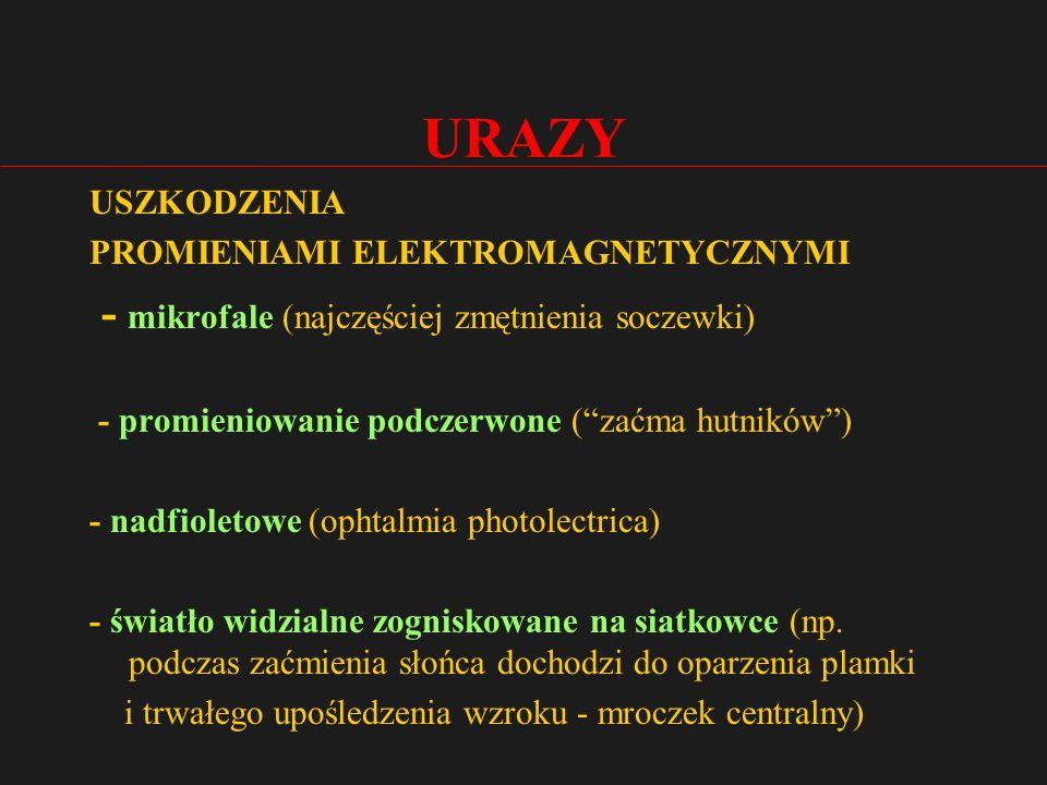 URAZY - mikrofale (najczęściej zmętnienia soczewki) USZKODZENIA