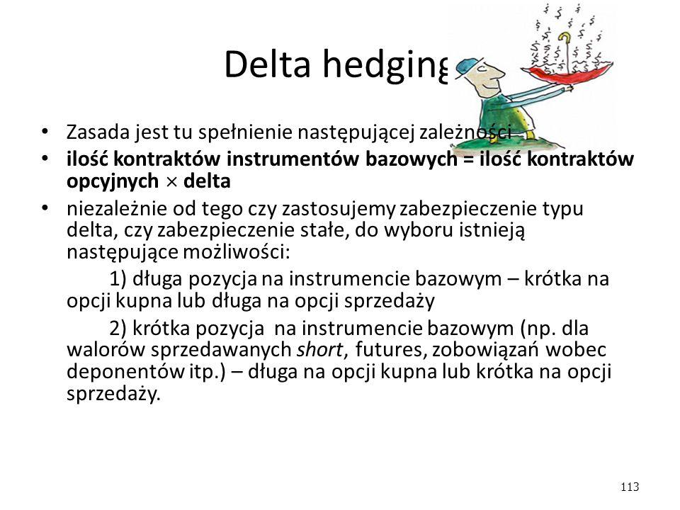 Delta hedging Zasada jest tu spełnienie następującej zależności