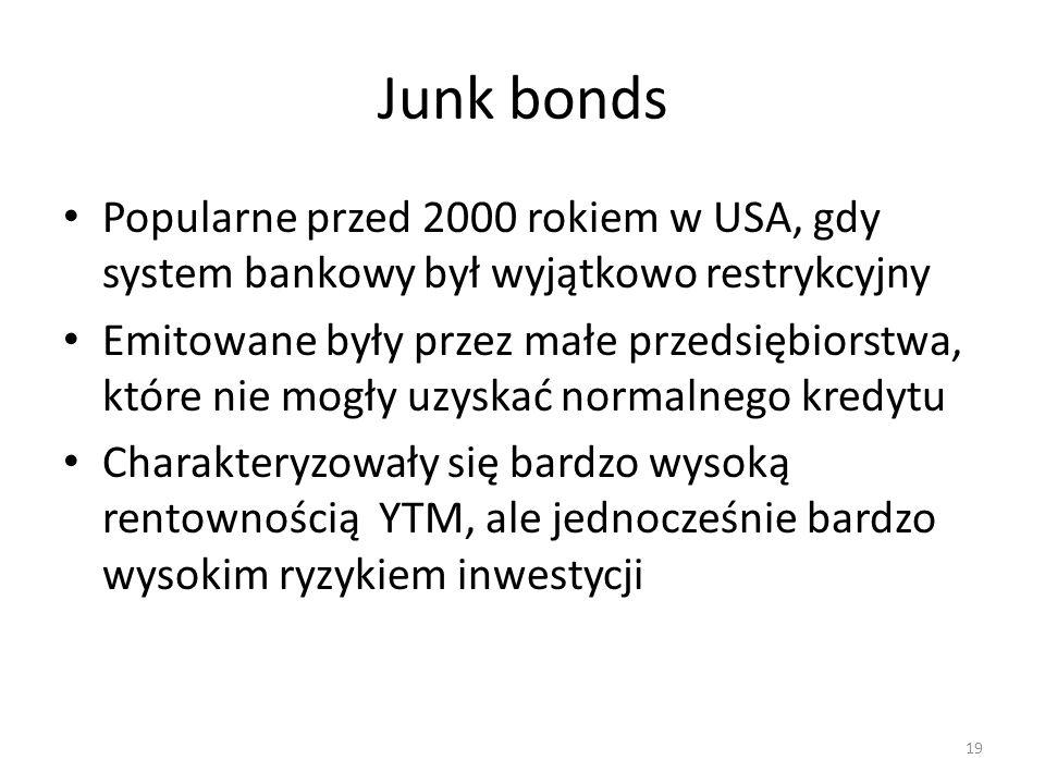 Junk bonds Popularne przed 2000 rokiem w USA, gdy system bankowy był wyjątkowo restrykcyjny.