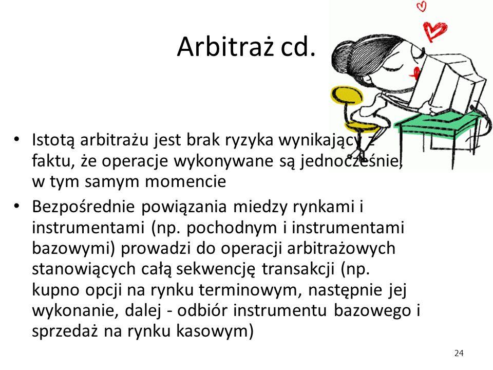 Arbitraż cd. Istotą arbitrażu jest brak ryzyka wynikający z faktu, że operacje wykonywane są jednocześnie, w tym samym momencie.