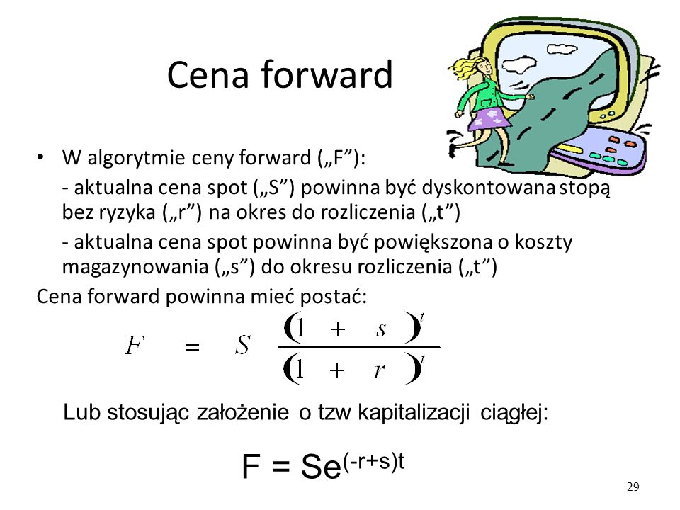 "Cena forward F = Se(-r+s)t W algorytmie ceny forward (""F ):"
