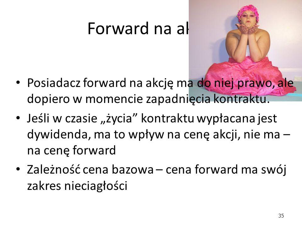 Forward na akcje Posiadacz forward na akcję ma do niej prawo, ale dopiero w momencie zapadnięcia kontraktu.