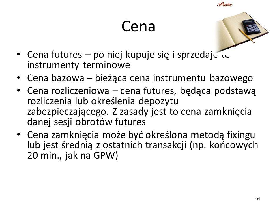 Cena Cena futures – po niej kupuje się i sprzedaje te instrumenty terminowe. Cena bazowa – bieżąca cena instrumentu bazowego.