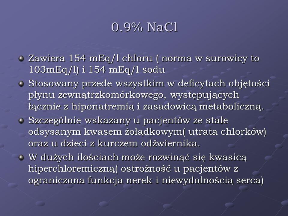 0.9% NaCl Zawiera 154 mEq/l chloru ( norma w surowicy to 103mEq/l) i 154 mEq/l sodu.