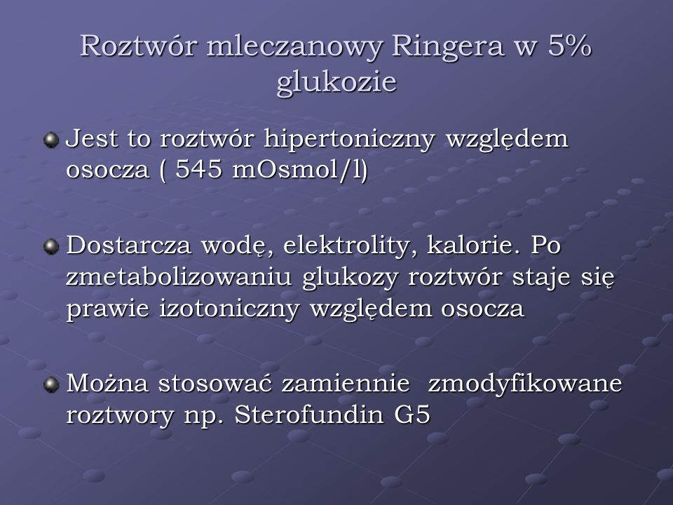 Roztwór mleczanowy Ringera w 5% glukozie