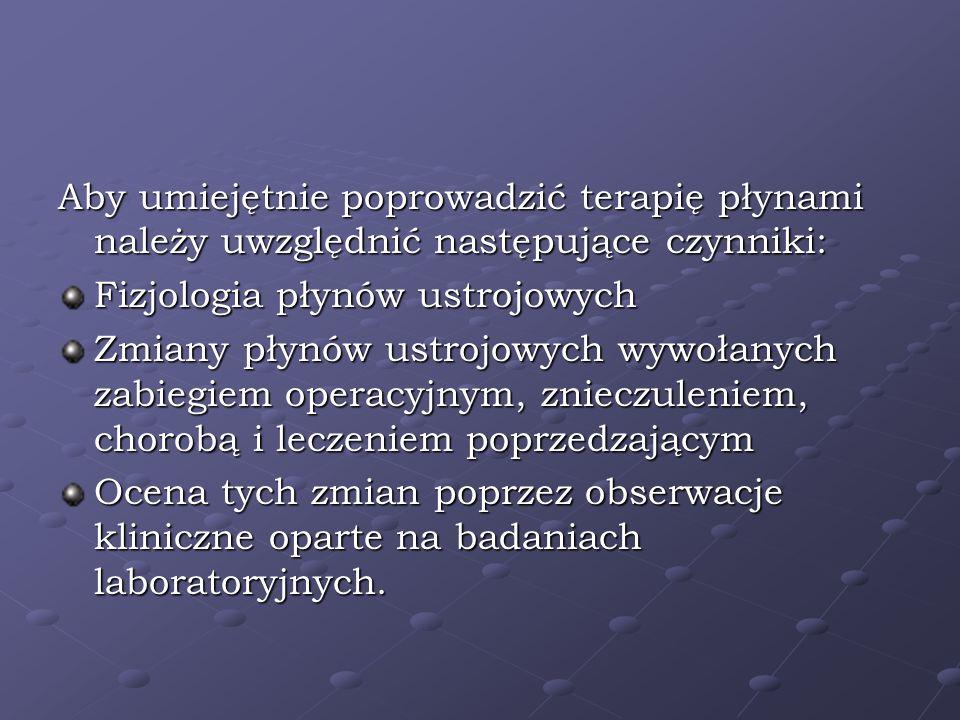 Aby umiejętnie poprowadzić terapię płynami należy uwzględnić następujące czynniki: