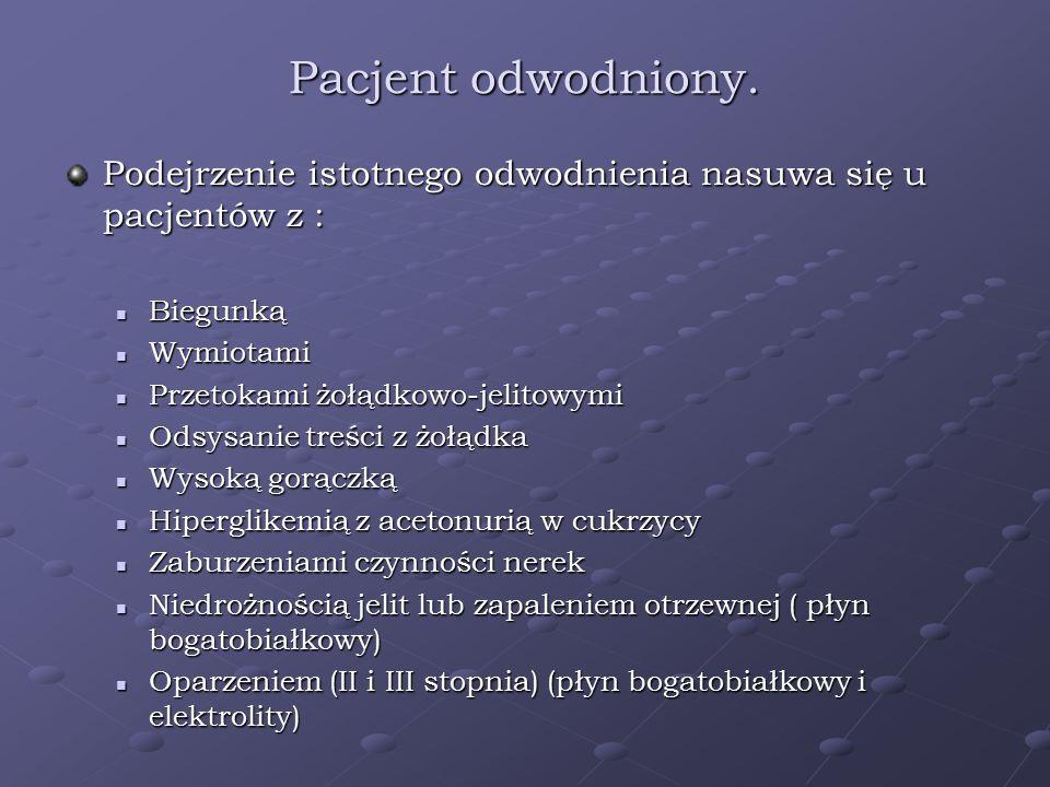 Pacjent odwodniony. Podejrzenie istotnego odwodnienia nasuwa się u pacjentów z : Biegunką. Wymiotami.