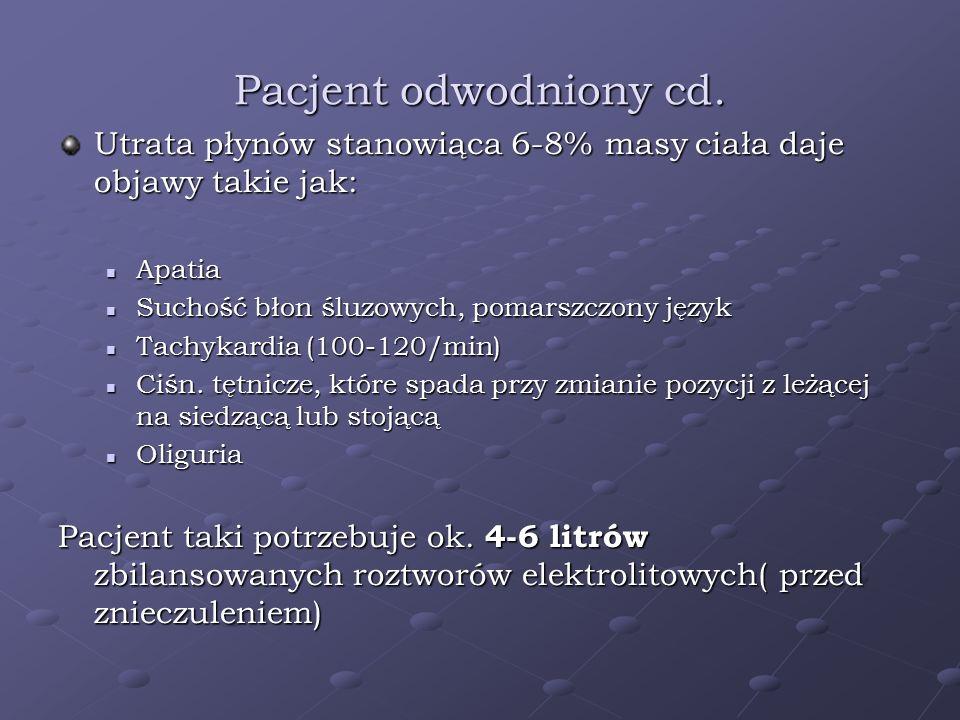 Pacjent odwodniony cd. Utrata płynów stanowiąca 6-8% masy ciała daje objawy takie jak: Apatia. Suchość błon śluzowych, pomarszczony język.