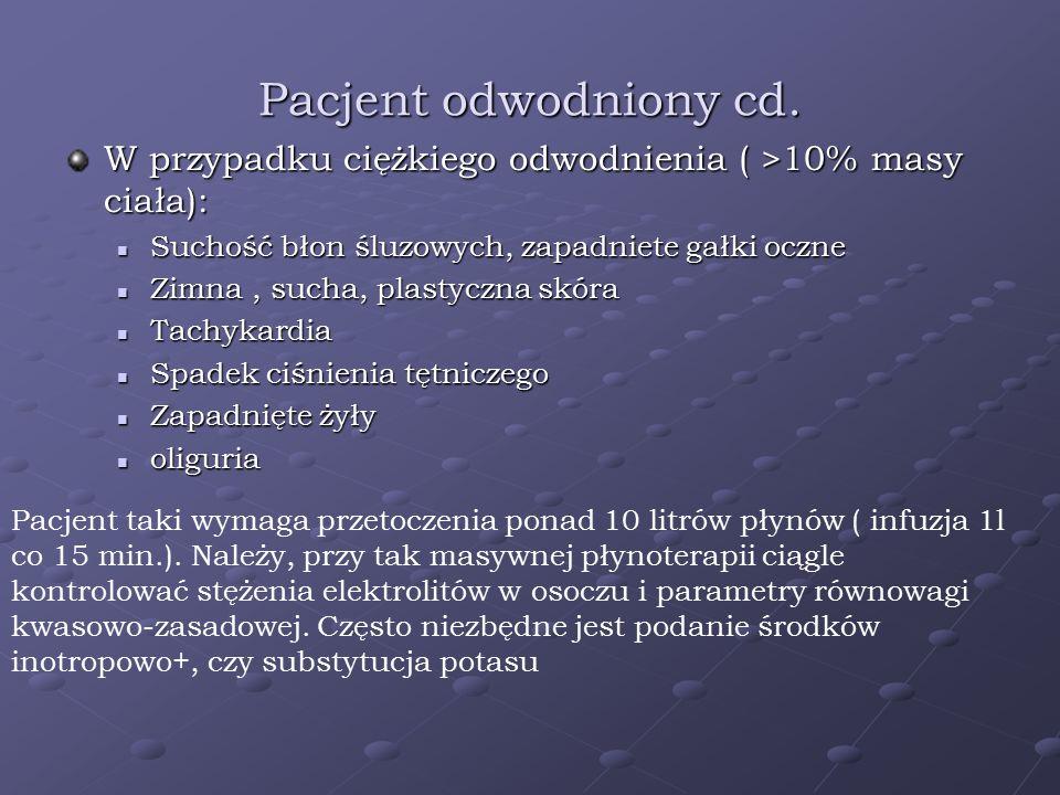 Pacjent odwodniony cd. W przypadku ciężkiego odwodnienia ( >10% masy ciała): Suchość błon śluzowych, zapadniete gałki oczne.