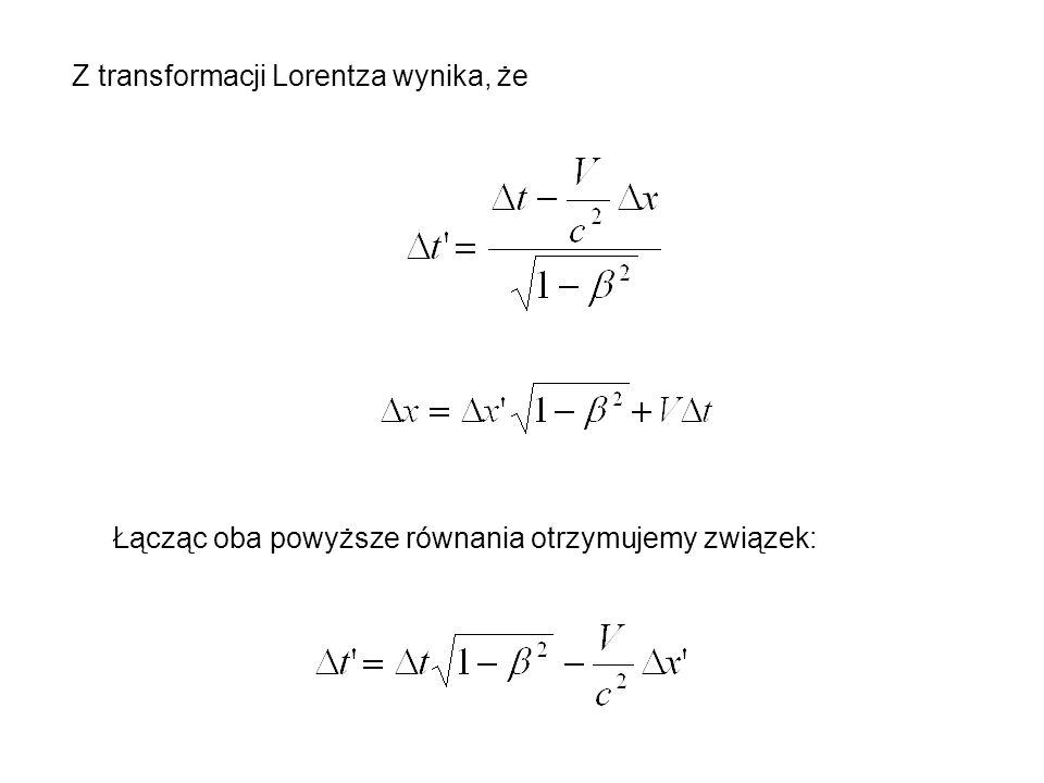 Z transformacji Lorentza wynika, że