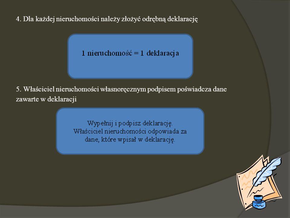 4. Dla każdej nieruchomości należy złożyć odrębną deklarację 5