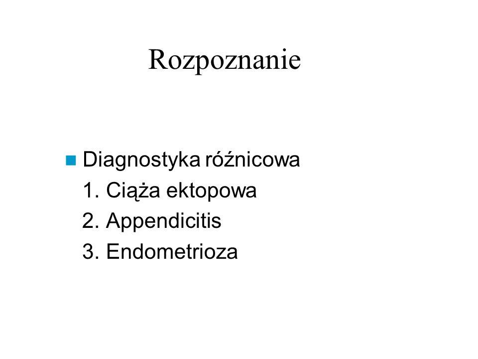 Rozpoznanie Diagnostyka róźnicowa 1. Ciąża ektopowa 2. Appendicitis
