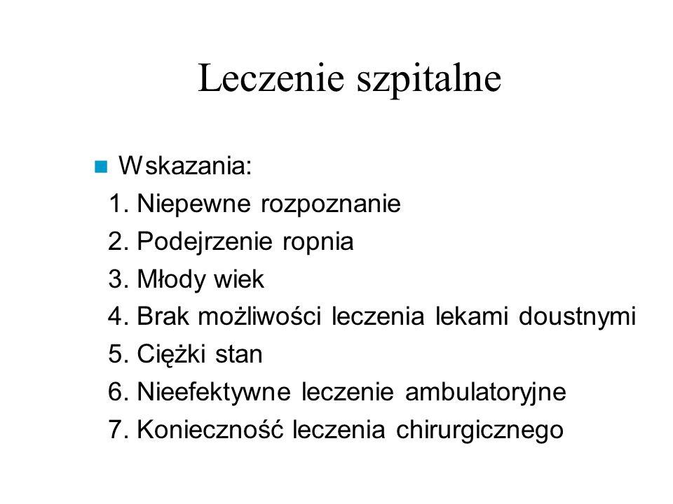 Leczenie szpitalne Wskazania: 1. Niepewne rozpoznanie