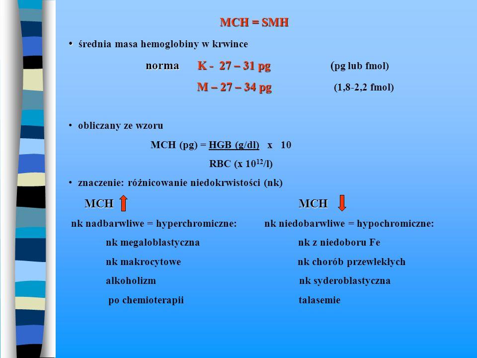 średnia masa hemoglobiny w krwince