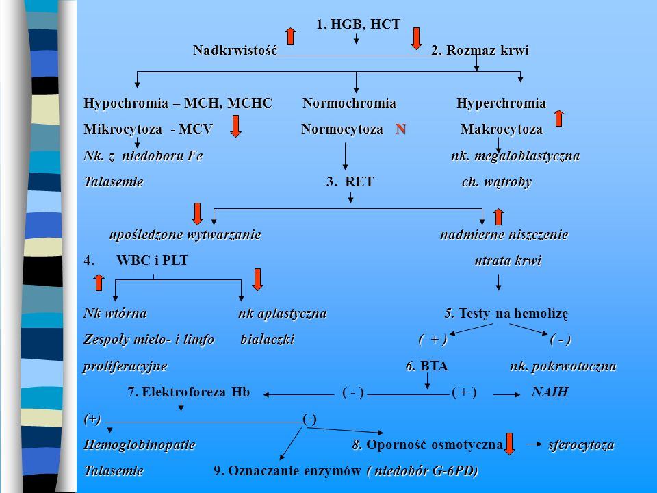 1. HGB, HCT Nadkrwistość 2. Rozmaz krwi.