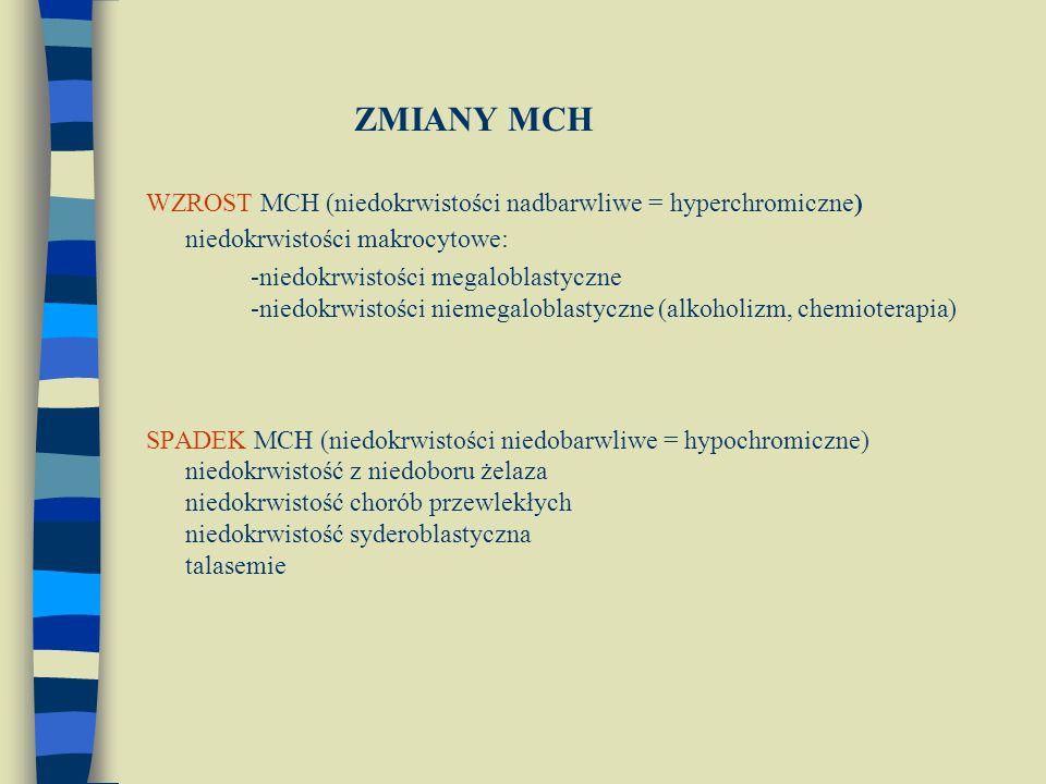 ZMIANY MCH WZROST MCH (niedokrwistości nadbarwliwe = hyperchromiczne) niedokrwistości makrocytowe: