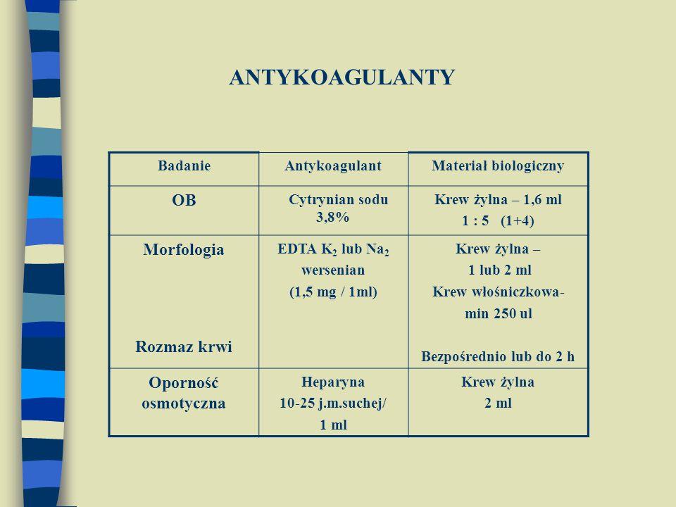 ANTYKOAGULANTY OB Morfologia Rozmaz krwi Oporność osmotyczna Badanie