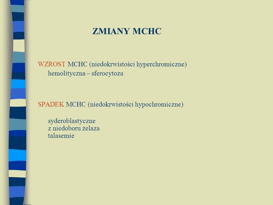ZMIANY MCHC WZROST MCHC (niedokrwistości hyperchromiczne)