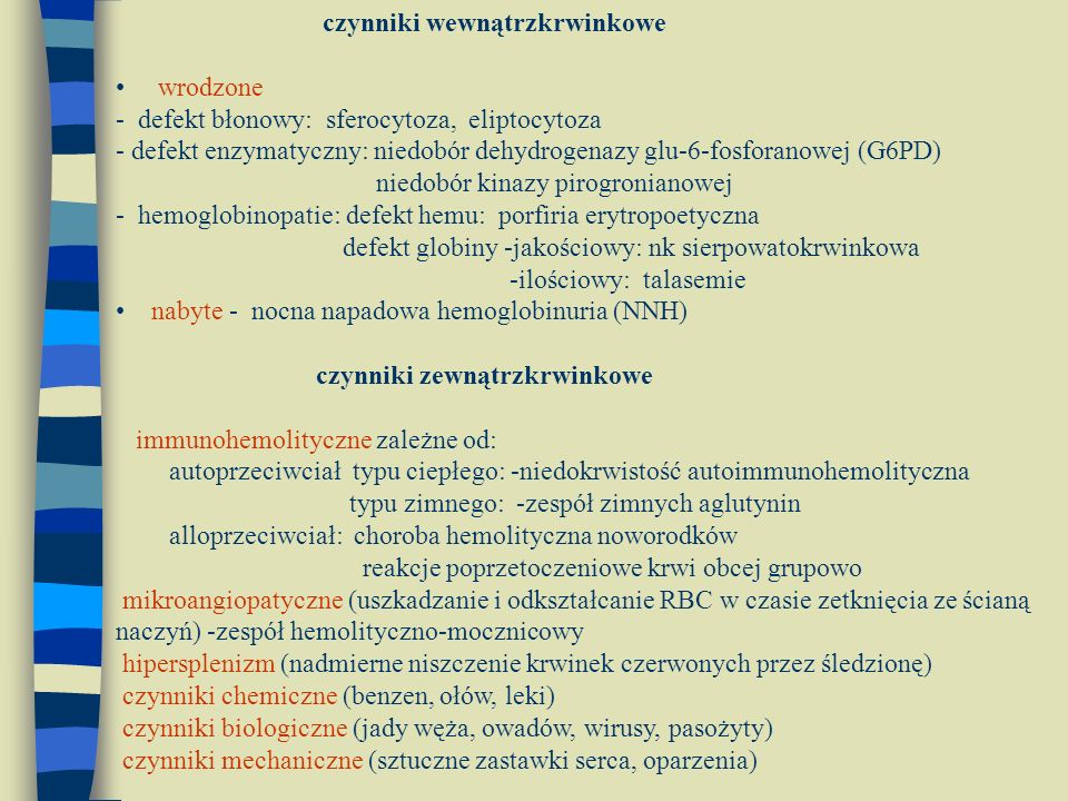 czynniki wewnątrzkrwinkowe