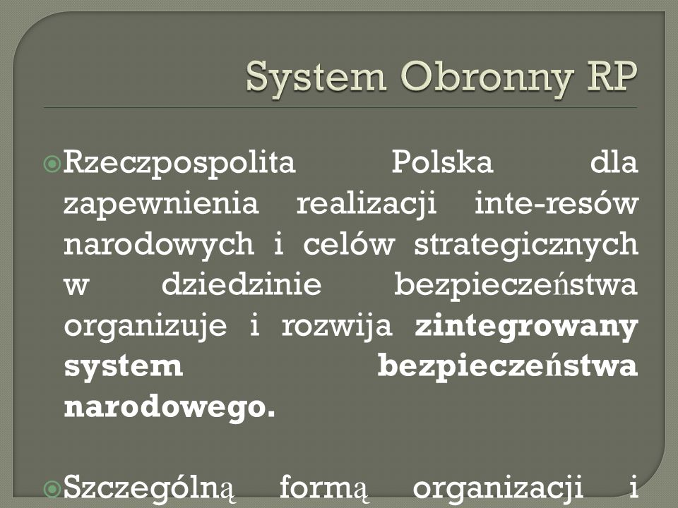System Obronny RP