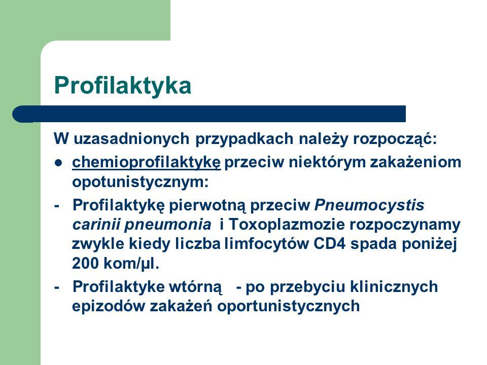Profilaktyka W uzasadnionych przypadkach należy rozpocząć: