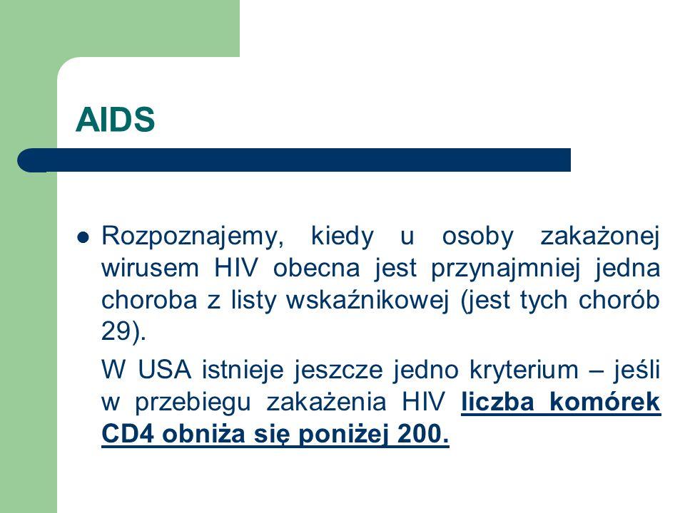 AIDS Rozpoznajemy, kiedy u osoby zakażonej wirusem HIV obecna jest przynajmniej jedna choroba z listy wskaźnikowej (jest tych chorób 29).