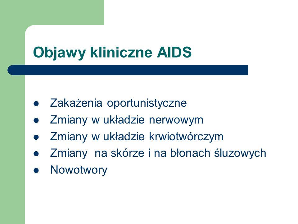 Objawy kliniczne AIDS Zakażenia oportunistyczne