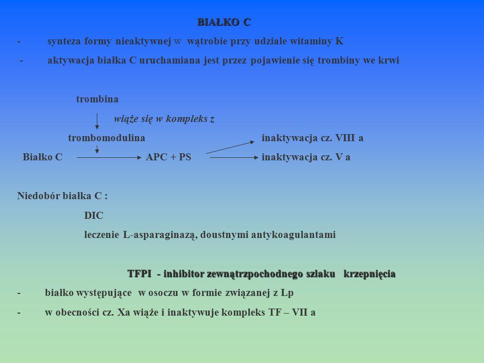 BIAŁKO C - synteza formy nieaktywnej w wątrobie przy udziale witaminy K.
