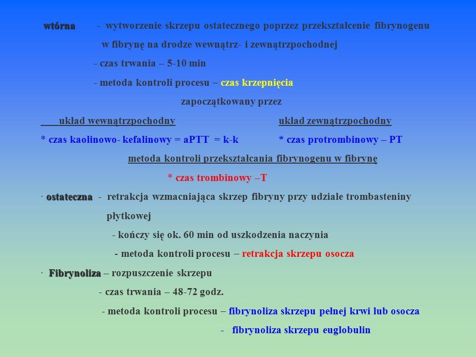 wtórna - wytworzenie skrzepu ostatecznego poprzez przekształcenie fibrynogenu