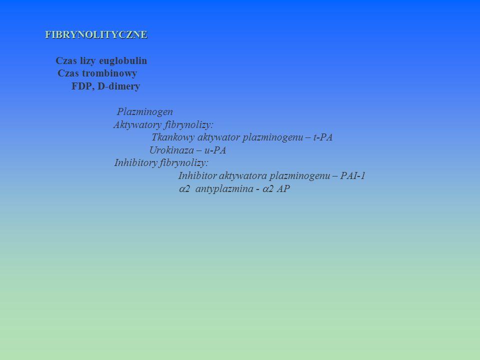 FIBRYNOLITYCZNE Czas lizy euglobulin. Czas trombinowy. FDP, D-dimery. Plazminogen. Aktywatory fibrynolizy: