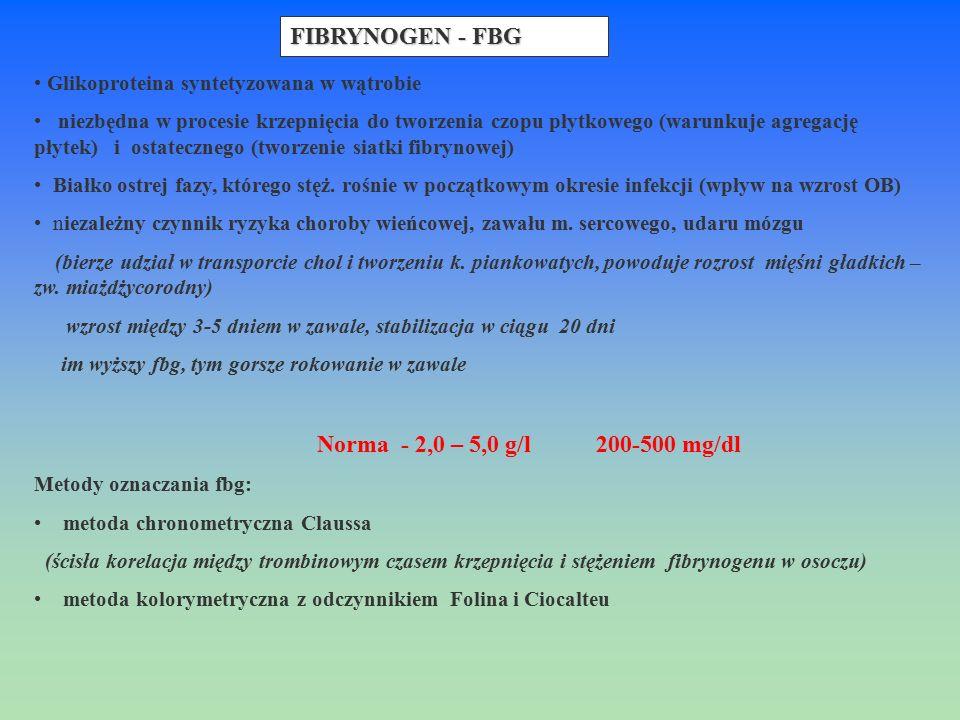 FIBRYNOGEN - FBG Glikoproteina syntetyzowana w wątrobie