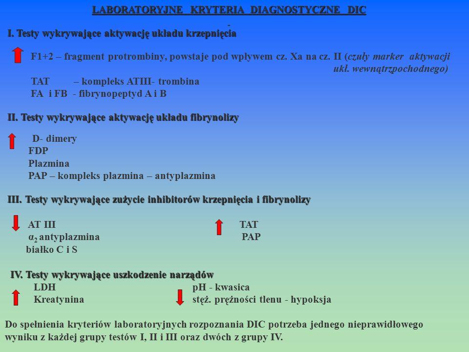 LABORATORYJNE KRYTERIA DIAGNOSTYCZNE DIC