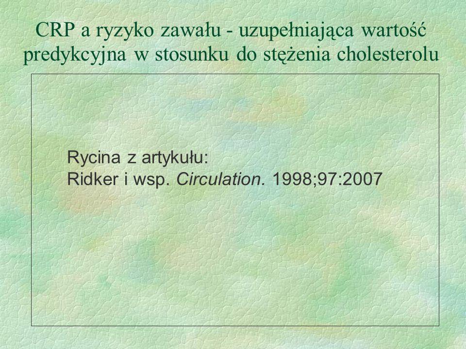 CRP a ryzyko zawału - uzupełniająca wartość predykcyjna w stosunku do stężenia cholesterolu