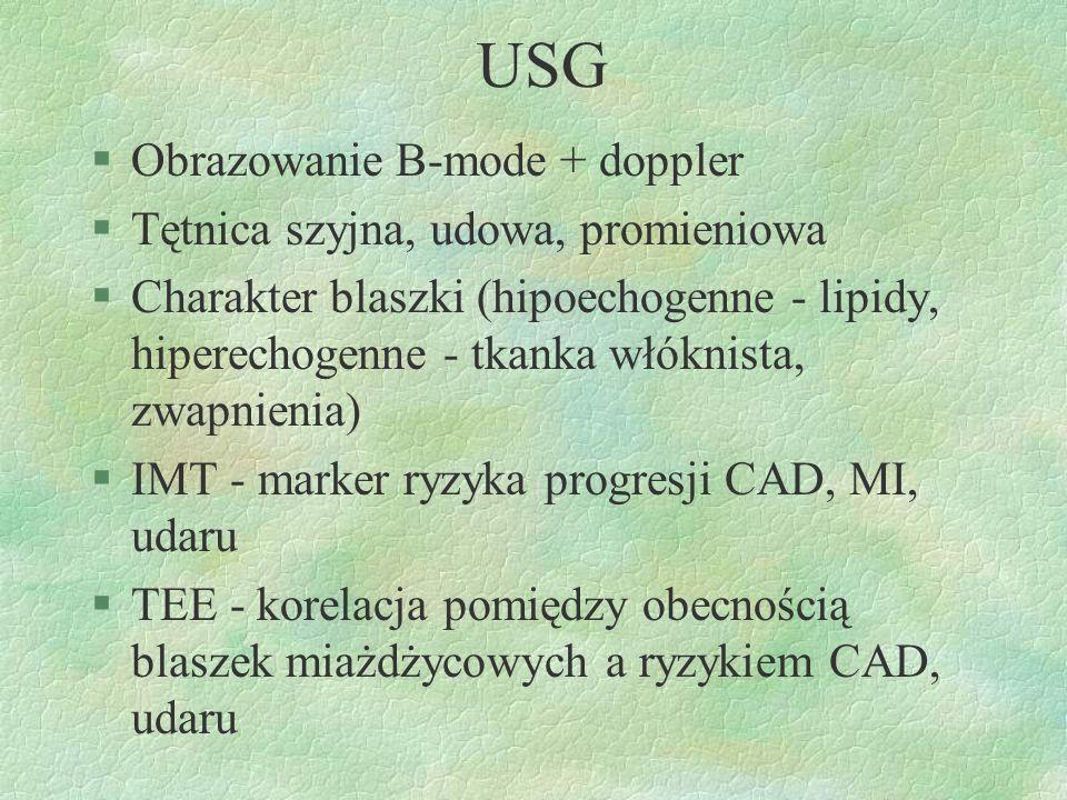 USG Obrazowanie B-mode + doppler Tętnica szyjna, udowa, promieniowa