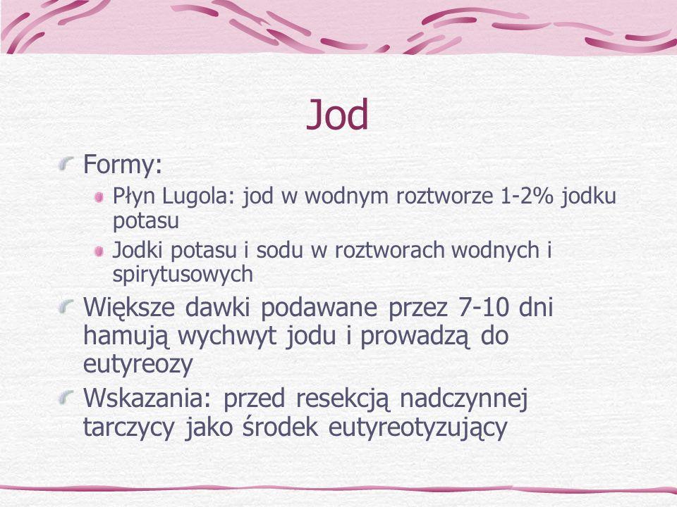 Jod Formy: Płyn Lugola: jod w wodnym roztworze 1-2% jodku potasu. Jodki potasu i sodu w roztworach wodnych i spirytusowych.