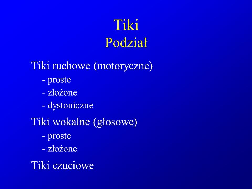 Tiki Podział Tiki ruchowe (motoryczne) Tiki wokalne (głosowe)