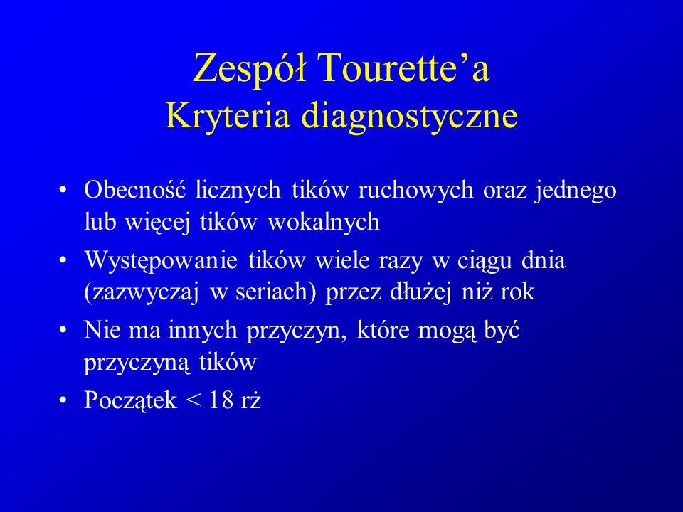 Zespół Tourette'a Kryteria diagnostyczne