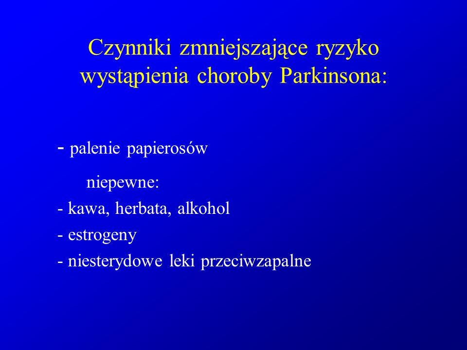 Czynniki zmniejszające ryzyko wystąpienia choroby Parkinsona: