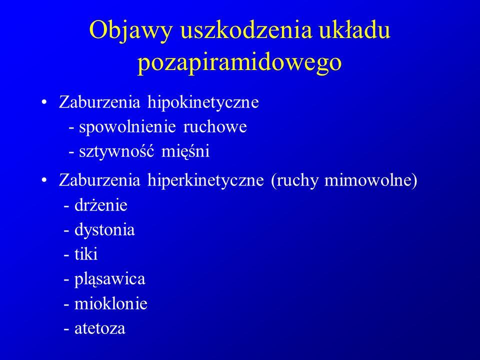 Objawy uszkodzenia układu pozapiramidowego