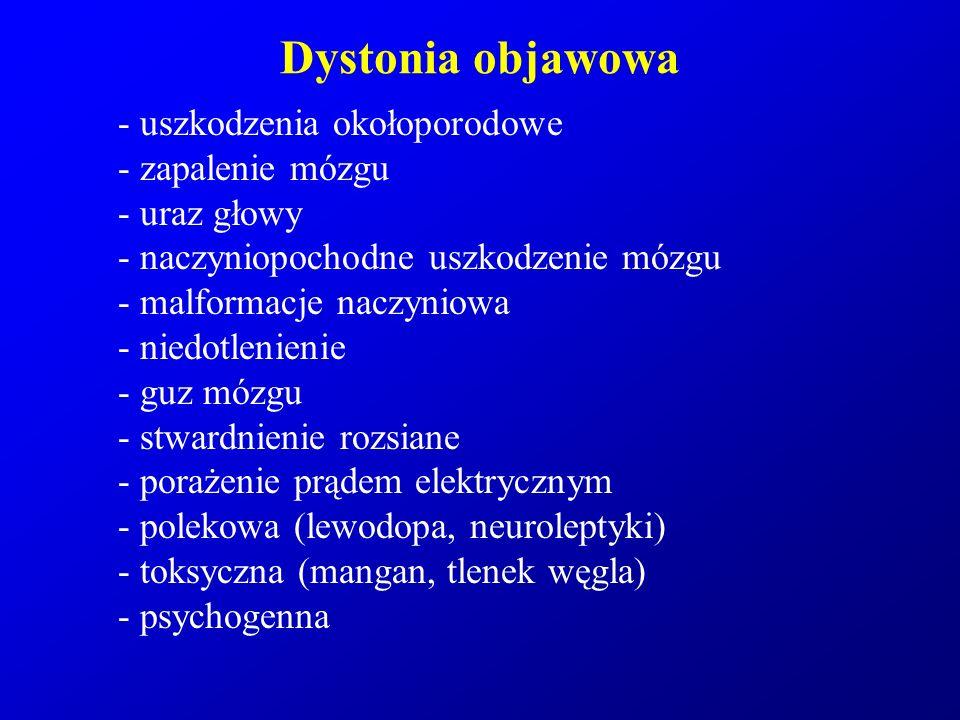 Dystonia objawowa - uszkodzenia okołoporodowe - zapalenie mózgu