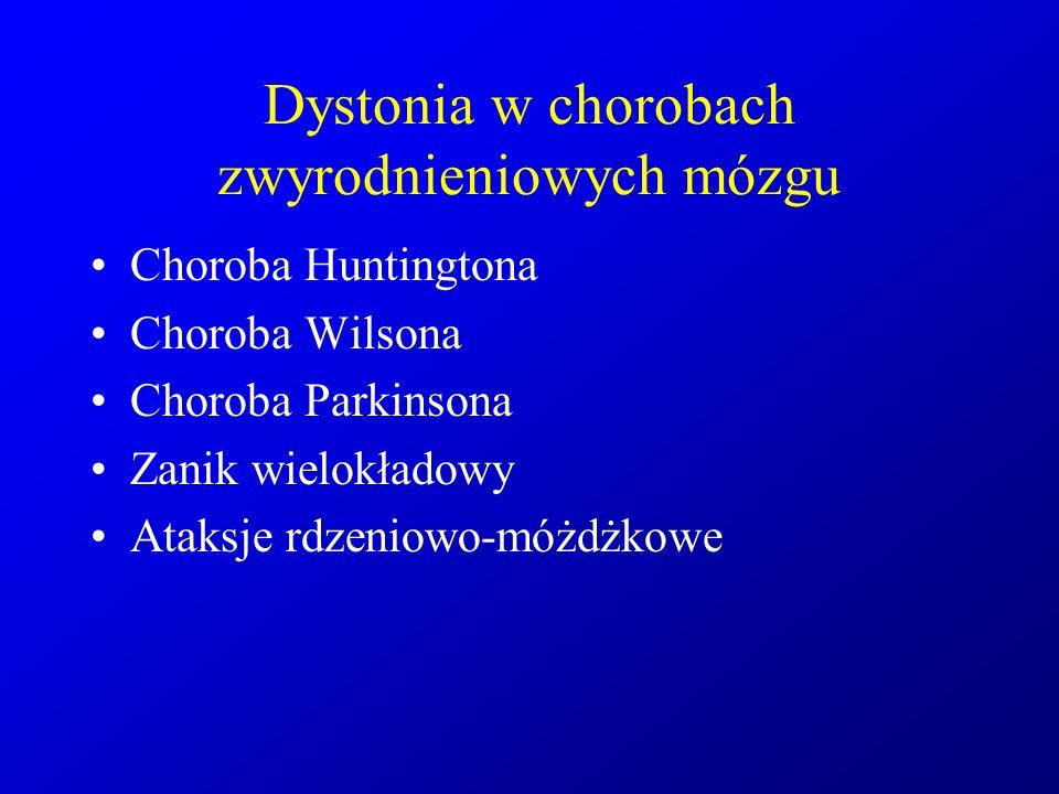 Dystonia w chorobach zwyrodnieniowych mózgu