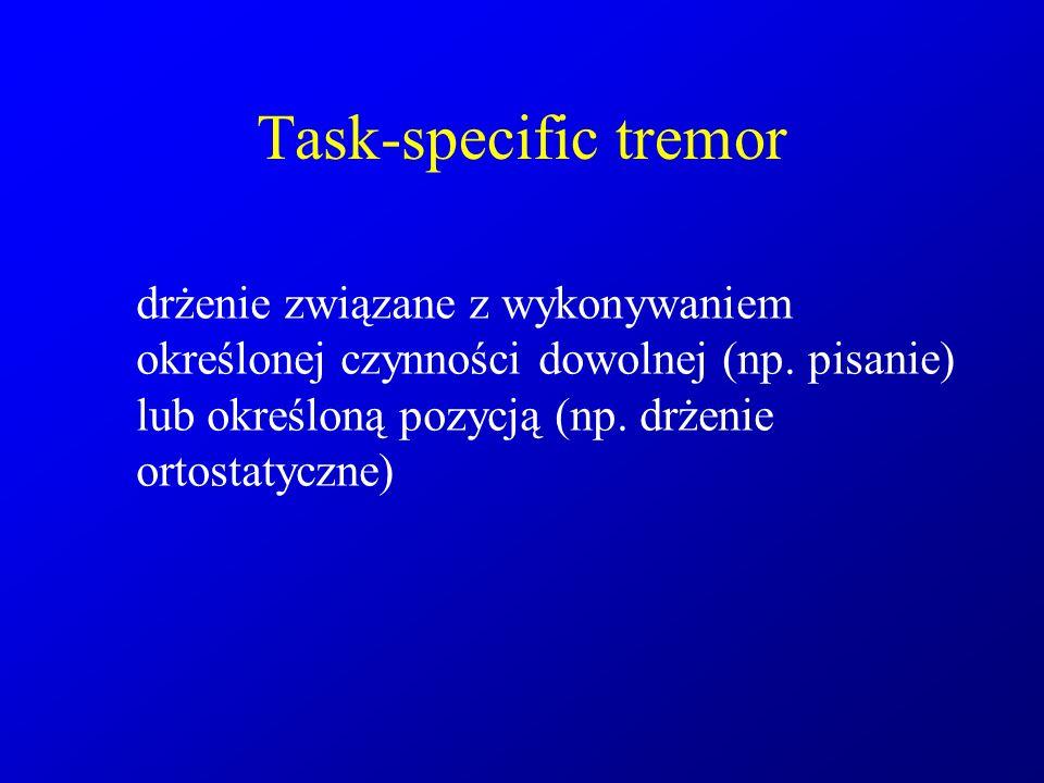 Task-specific tremor drżenie związane z wykonywaniem określonej czynności dowolnej (np.