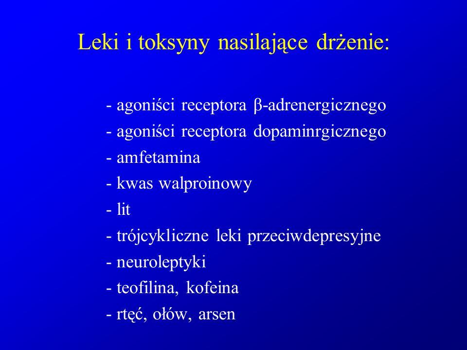 Leki i toksyny nasilające drżenie:
