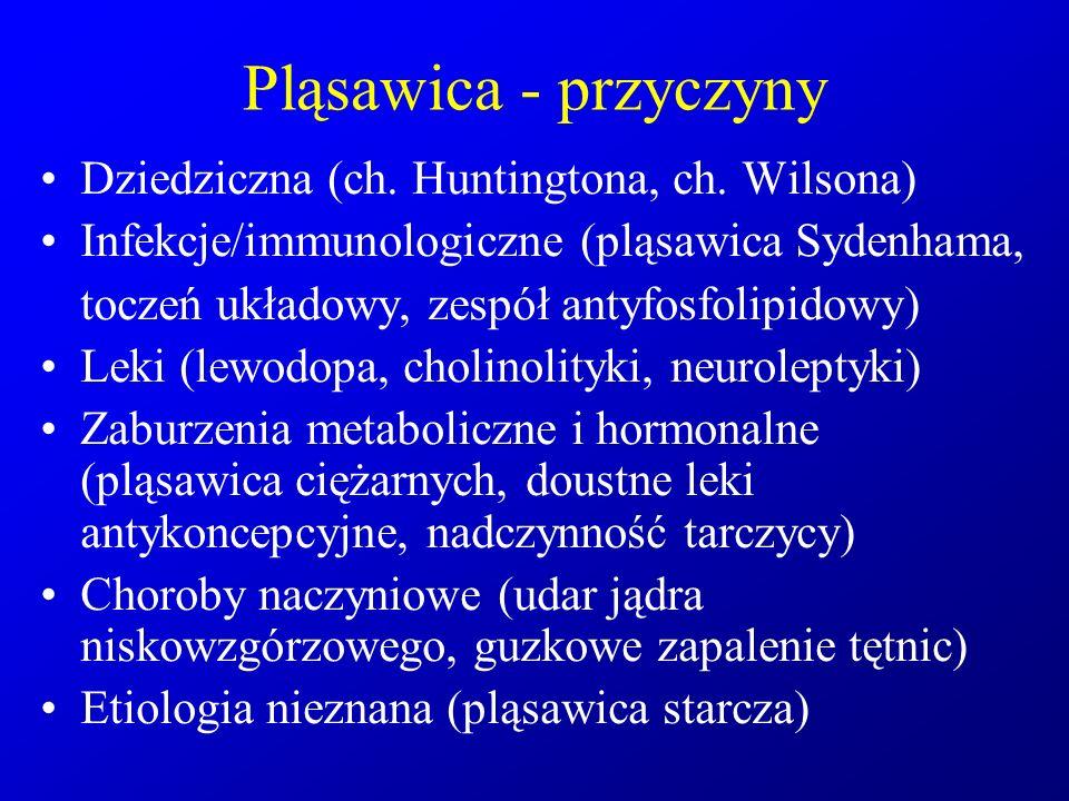 Pląsawica - przyczyny Dziedziczna (ch. Huntingtona, ch. Wilsona)