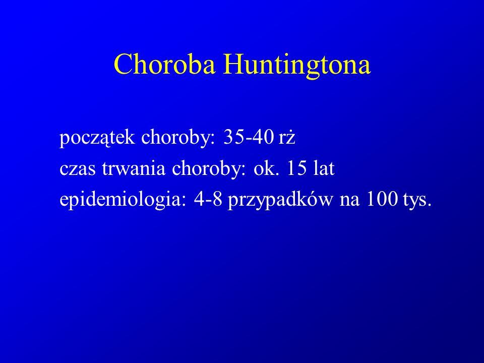 Choroba Huntingtona początek choroby: 35-40 rż