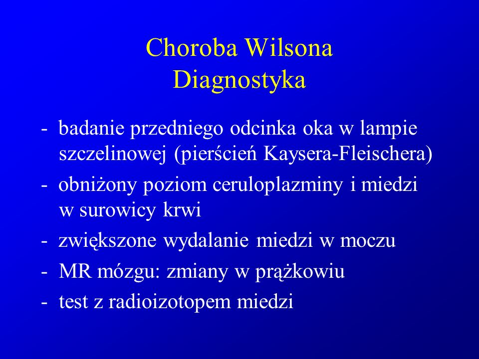 Choroba Wilsona Diagnostyka