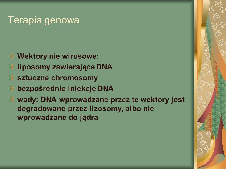 Terapia genowa Wektory nie wirusowe: liposomy zawierające DNA
