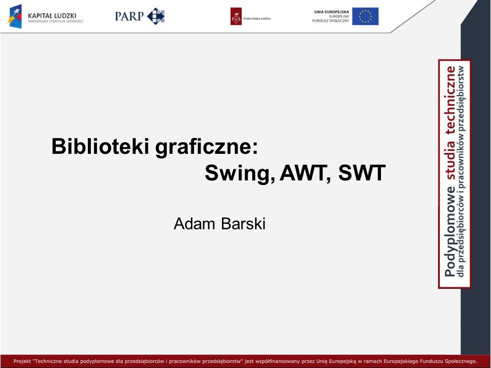 Biblioteki graficzne: Swing, AWT, SWT